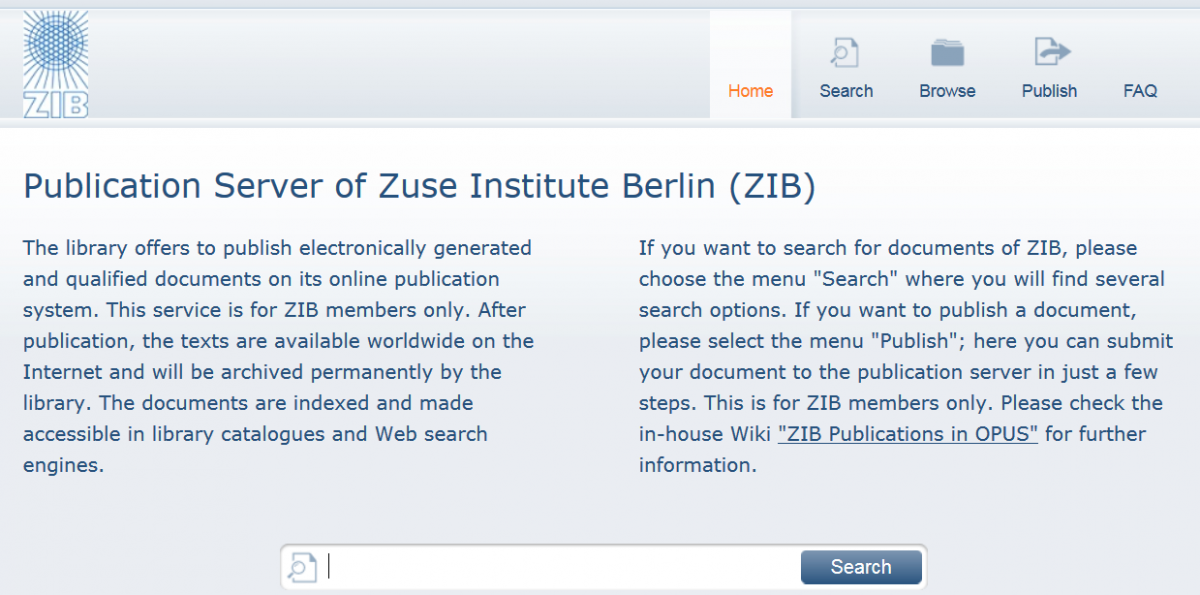Search interface of ZIB OPUS institutional repository