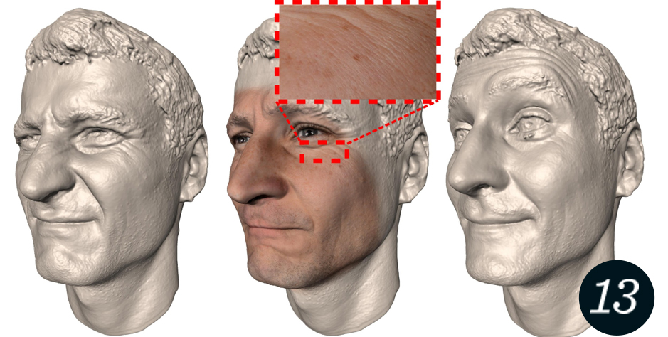 Expression scans from the ZIB 3-D Face Database with photographic texture containing high-resolution skin details.