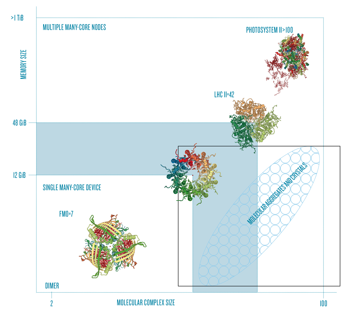 Molecular complex size vs. memory requirements for the HEOM method. Solutions for larger photosynthetic complexes found in the light harvesting system 2 [9] and photosystem II [10] can only be acquired by scaling up to many compute nodes.