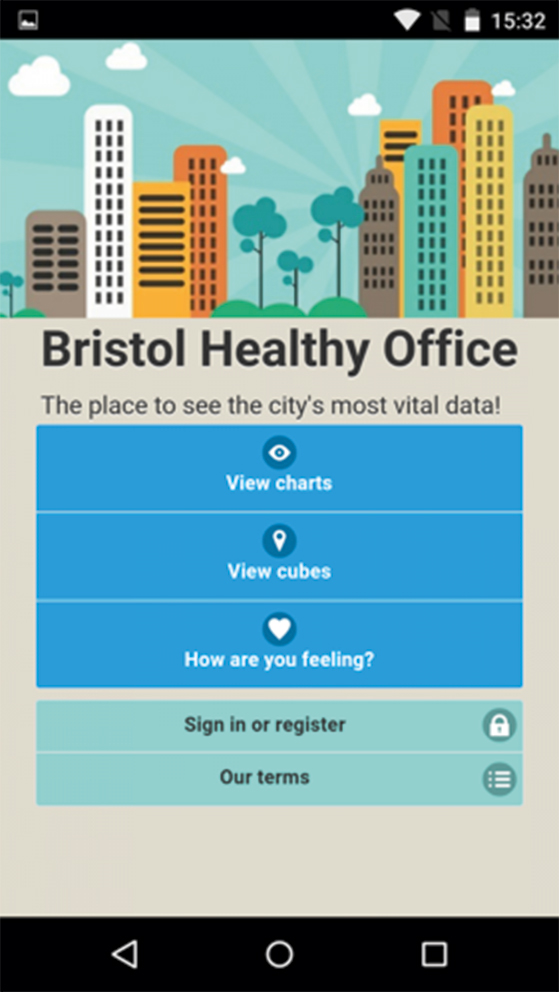 Screenshot of the Bristol Healthy Office app.