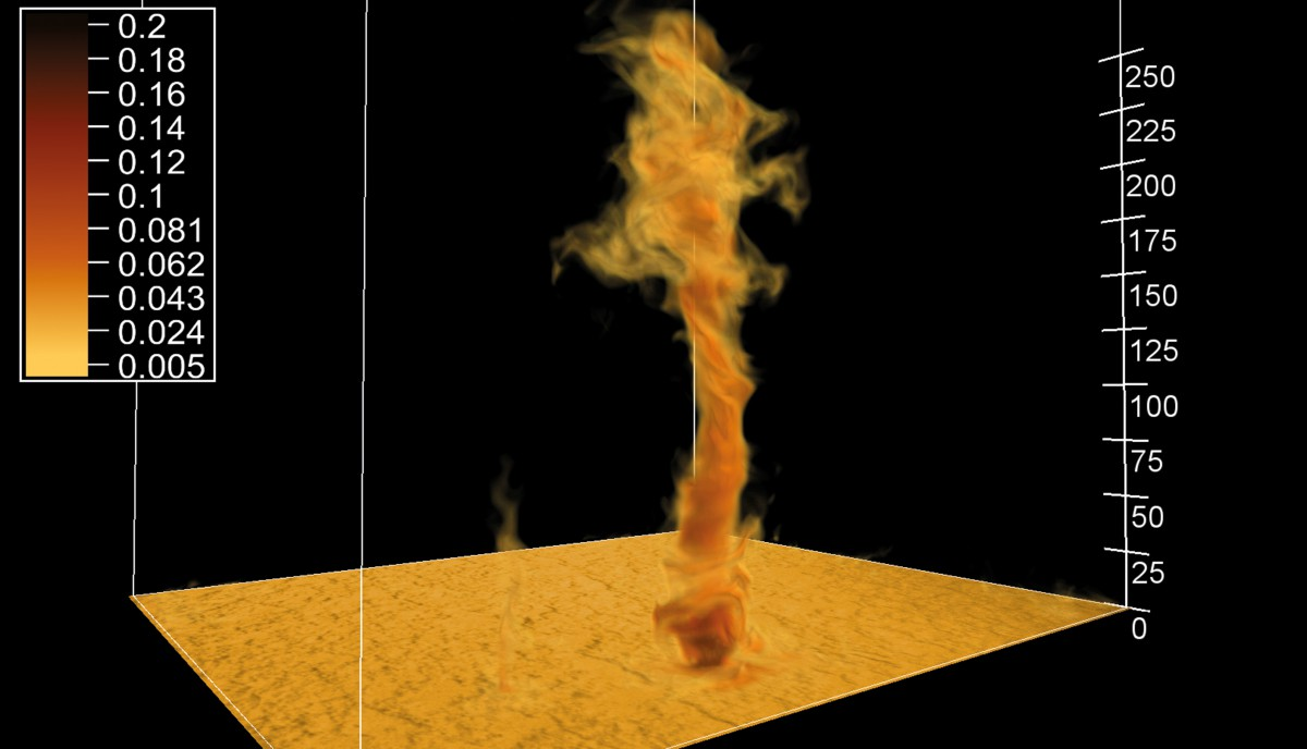 Dust devil simulated with PALM. The displayed area of 200x200 m2 represents only a small part of the total simulated domain