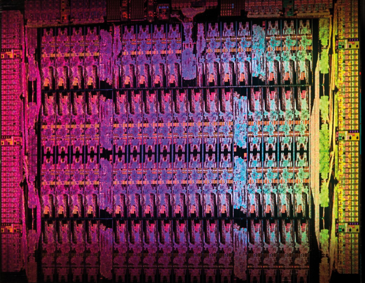 The Intel Xeon Phi die with its 61 cores