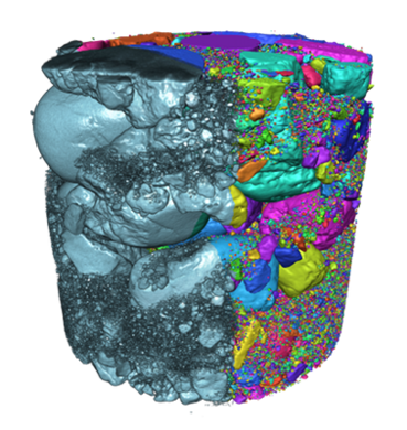 Initial volume (grey) and extracted particles (colored)