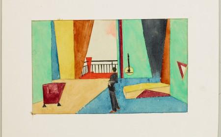 nicht realisierter Bühnenbildentwurf Traugott Müllers zu Frank Wedekind: Die Zensur, 1921 (14 x 21,9 cm, Tempera auf Papier, passepartouriert mit Karton weiß)