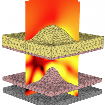 3D FEM simulation: nanostructured layer stack