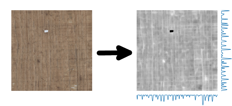 Papyrus fragment before and after preprocessing with a derived fiber pattern
